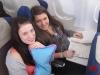 Sophia und Kerstin auf dem Hinflug